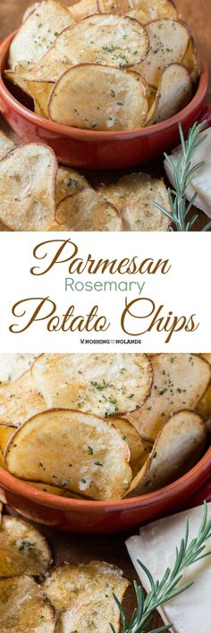 Parmesan Rosemary Potato Chips by Noshing With The Nolands is flavorful treat for the holidays, game day or any day. Family and friends will be in awe! (Healthy Recipes For Family) Appetizer Recipes, Snack Recipes, Cooking Recipes, Appetizers, Chefs, Comida Diy, Rosemary Potatoes, Good Food, Yummy Food