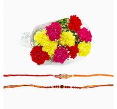Set of Two Rakhi with Carnation Bouquet