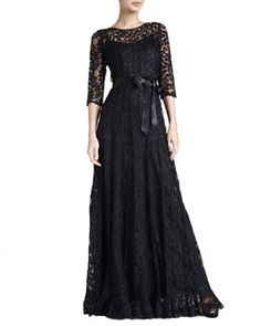T5K15 Rickie Freeman for Teri Jon Floral-Lace Gown