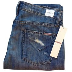Pre-owned Hudson Jeans Relaxed Fit Jeans ($116) ❤ liked on Polyvore featuring jeans, none, ripped jeans, slim fit jeans, distressed jeans, relaxed fit straight leg jeans and straight leg jeans