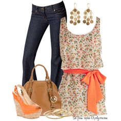 Tangerine and Floral Top, created by sophie-01 on Polyvore