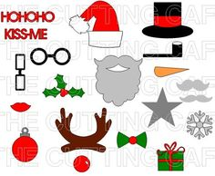 CHRISTMAS PHOTO BOOTH PROPS ready to print in color...