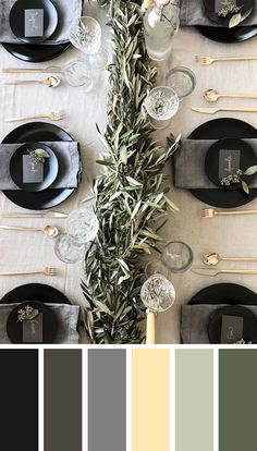 Forget red and green table decor this Christmas, I'm going modern! Find 5 modern inspirational Christmas table setting color palette options right here. Christmas Colour Schemes, Christmas Colors, Christmas Palette, Christmas Table Settings, Christmas Decorations, Holiday Decor, Christmas Table Scapes, Black Christmas, Modern Christmas