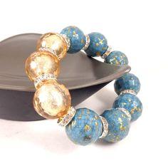Statement Bracelet, Chunky Bracelet, Stacking Bracelet, Turquoise, Gold, Beaded, Round Bead Bracelet, Big Bracelet, Stretch Bracelet by Pilboxx on Etsy