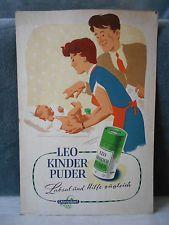 DDR Reklame-Schild 50/60er Jahre Drogerie LEO KINDERPUDER - Chlorodont