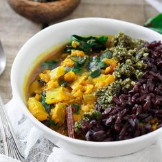 This turmeric lentil stew can be served with any grain you'd like for a hearty, health packed, comforting vegetarian meal.