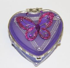 Heart Shaped Glass Jewelry Trinket Box with Butterly  Dark Purple * To view further for this item, visit the image link.(This is an Amazon affiliate link and I receive a commission for the sales)