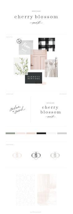 A Timeless Brand and Website Design : Cherry Blossom Events : Saffron Avenue, Logo Design, Event Planner logo, classic logo, brand design, website design, showit5 website, showit5, monogram design, monogram logo, mood board, color inspiration board, brand board, hand-lettering