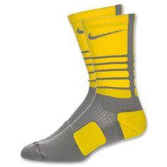 The Nike Platinum Elite Cushion XL Basketball Socks are designed to soften the impact when things heat up during intense competition. Mesh panels along with Dri-FIT fabric increase the ventilation and wick sweat to help keep your foot dry and comfortable for the whole game. Extra padding at the heel and forefoot are in the high-wear areas where you need it most. Left/right specific for a custom fit. XL is size 12 to 15. 62% polyester, 21% nylon, 15% cotton, 2% spandex.