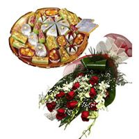 White Orchids 12 Red Roses Bunch 1 Kg Assorted Kaju Sweets