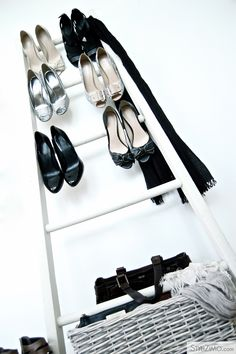 Using my ladder to display shoes?!