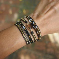 5 times Wrap Bracelet, Black mix wrap bracelet, Friendship bracelet, Boho bracelet, Bohemian bracelet, Beadwork bracelet  {{ Product Detail }} ✧ Mix