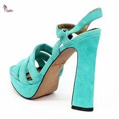 Sam Edelman Tongs à talon daim bloc, Taille 3,5 RRP £ 125 - Noir - Turqoise, - Chaussures sam edelman (*Partner-Link)