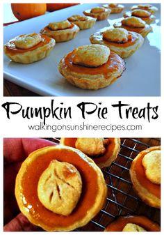 Pumpkin Pie Treats - Walking on Sunshine Recipes.  Mini pumpkin pies make the perfect dessert for Thanksgiving.