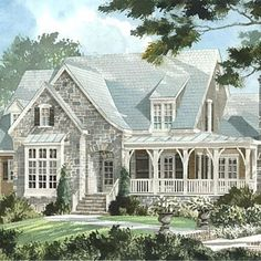 Elberton Way, Plan #1561 | The picturesque appeal of the English-cottage style, which can be found in so many longstanding neighborhoods across the South, gives this design a ready-made presence. | SouthernLiving.com