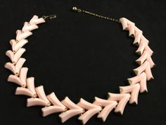 TRIFARI NECKLACE - Vintage Jewelry, Valencia Necklace, Signed Trifari Jewelry, Pink Necklace, Retro Pink Choker, Mid Century Lucite Jewelry by IridiumJewelry on Etsy