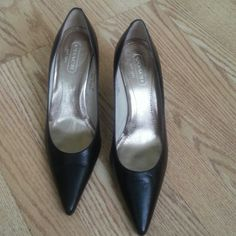 "Authentic Coach   made in Italy, classic model Black leather, 3,5""heel, good for office, and every day run,,used twice, perfect condition Coach Shoes Heels"