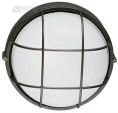 LBL Lighting LARGE-ROUND-BULK-HEAD-WITH-GUARD Large Round Aluminum Bulkhead Outdoor Wall Sconce with Guard LBL-BULK-HEAD-I