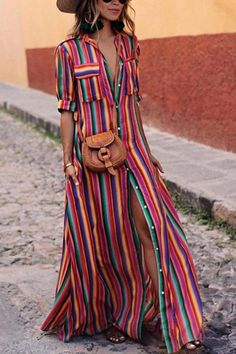 Button Down Collar Stripes Roll Up Sleeve Half Sleeve Maxi Dresses                      – Bellalike
