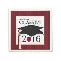 Grad Class 2016-Smiley-PAPER NAPKINS-Burg.-White Paper Napkin #2016grad #napkins #party