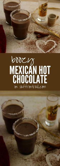 Mexican Vegetarian recipes: Recipe for Mexican Boozy Hot Chocolate for two- a hot chocolate can only taste better when spiked with a shot of something.