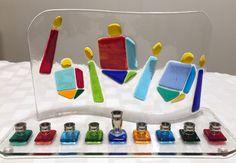 Hanukkah Menorah with Colorful Dreidels and Hanukkah Candles, Fused Glass Menorah, Jewish Wedding Glass Gift, Bar Mitzvah Gift. Hannuka Gift by Shakufdesign on Etsy https://www.etsy.com/listing/251488183/hanukkah-menorah-with-colorful-dreidels