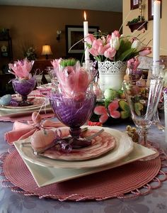 Lovely pink and white Easter table with purple accents. #easter #tablesetting #tablescape