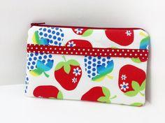 Strawberry Zipper Pouch Small Gadget Case Accessory by ZestyNotion
