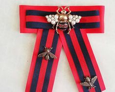 Ultimate handmade red and navy blue brooch with a jumbo size bee with pearls and insect pins Gucci inspiration