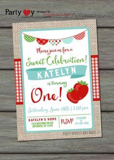 Strawberry Birthday Invitation Summer by PartyInvitesAndMore