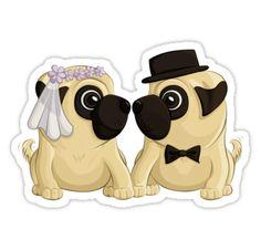 Wedding Pugs | Sticker