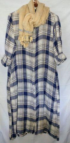 46919a006a87 CP SHADES Linen Maxi Dress 100% Linen Blue Plaid Bisque Cream Shirt-dress  NWOT