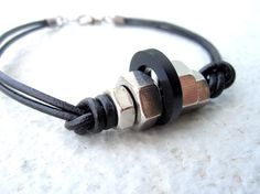 Mens Leather Bracelet Hardware Metal Jewelry Men's by pearlatplay, $18.80