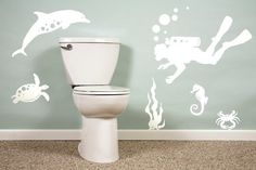 Simple Underwater Wall Murals in Bathroom Interior Designs- Cute idea without being too cartoonish