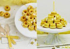 Sandra´s Tortenträumereien: Mini-Vanille-Gugel-Törtchen zum Geburtstag Cereal, Wordpress, Dairy, Happy Birthday, Cheese, Breakfast, Food, Treats, Pies