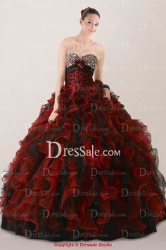 Shimmering Red and Black Quinceanera Dress in Ruffle Skirt with Matching Grain