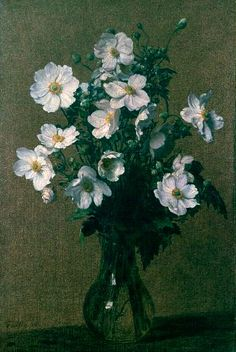 Henri Fantin-Latour Japanese Anemones - Handmade Oil Painting Reproduction on Canvas Henri Fantin Latour, Manet, Anemone Flower, Flower Art, Art Floral, Aberdeen Art Gallery, Japanese Anemone, European Paintings, Paul Cezanne