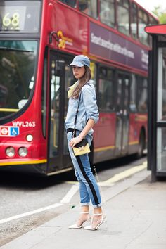 double denim with yellow bag and scarf