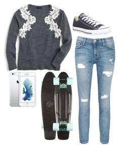 """""""Penny boarding With LILY!!!"""" by hogwartsowl-217 ❤ liked on Polyvore featuring J.Crew, Current/Elliott and Converse"""