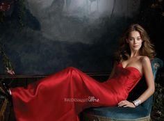 red satin strapless sweetheart corset long bridesmaid dress a-line skirt