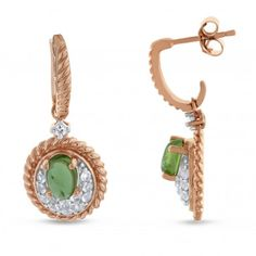 Viola, Oval-cut Peridot & White Topaz Earring in Sterling Silver Pink Plated