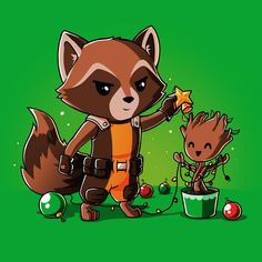 Rocket and Groot Rocket Around the Christmas Tree T-Shirt | Official Guardians of the Galaxy Tee – TeeTurtle