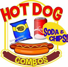 "Hot Dogs Soda Combos Decal 14"" Restaurant Food Truck Concession Vinyl Sticker #harbourSigns"