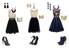 """prom group #2"" by evey0529-chillin ❤ liked on Polyvore featuring Chi Chi, Little Mistress, Bebe, Schutz, Humble Chic, Feather & Stone, Irene Neuwirth, Forever 21 and Blue Nile"