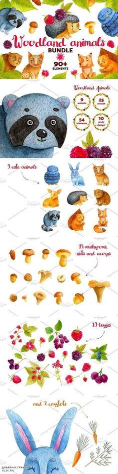 Woodland Animals. Watercolor Bundle 1275045