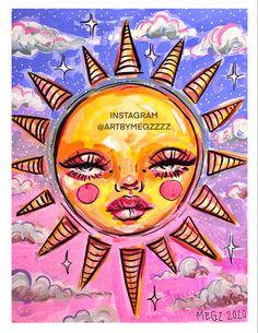 Indie Drawings, Psychedelic Drawings, Cool Art Drawings, Hippie Painting, Trippy Painting, Arte Indie, Indie Art, Pintura Hippie, Wal Art