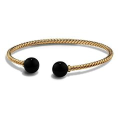 Women's David Yurman 'Solari' Bead Bracelet featuring polyvore, women's fashion, jewelry, bracelets, accessories, black onyx, david yurman jewelry, david yurman bangle, beaded bangles, 18 karat gold jewelry and pearl bangles