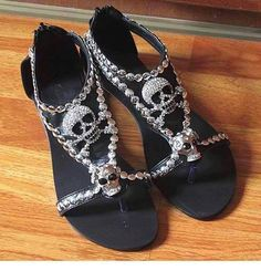 4 colors chic skull flat sandals with rhinestone decorated ladies fashion sandals Skull Fashion, Gothic Fashion, Fashion Shoes, Punk Fashion, Lolita Fashion, Ladies Fashion, Fashion Dresses, Estilo Rock, Cute Shoes