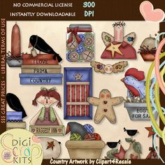 Prim Collection 1 Primitive Country Clip Art - Click Image to Close