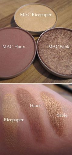 "MAC EYESHADOWS :: I really want Haux. Ricepaper is a nice neutral highlight color, too. (CLICK for a ""2 minute look"" using these 3 shades.) 